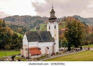 The beautiful Parish Church of the Visitation of Mary, Špitalič, near Slovenske Konjice and the Žice Carthusian Monastery, Slovenia