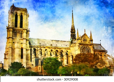 beautiful Parisian pictures - Notre-dame - watercolor painting style