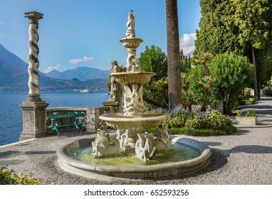 Beautiful park  along the Lake Como coast in Varena town, Italy.