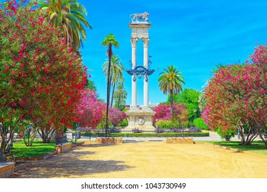 Beautiful park in the center of Seville - Prado de San Sebastian. Spain.