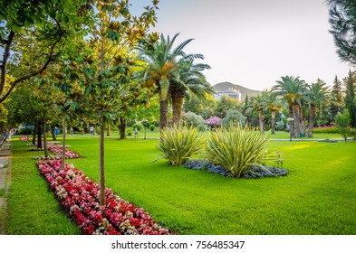 Beautiful park in new district of Budva, Montenegro