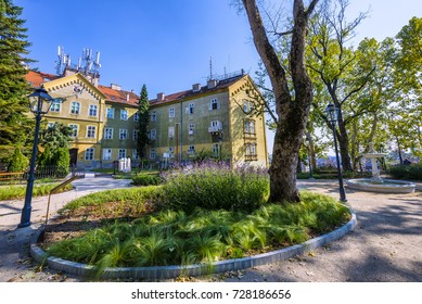 Beautiful park on Upper Town in Zagreb, Croatia, in front of the meteorological building.