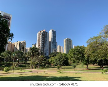 Beautiful park surrounded by residential buildings in Goiania, Goias, Brazil