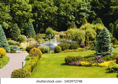 Beautiful park with trees, shrubs and green lawns, landscape summer design