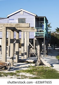 Beautiful pastel tones on old wooden beach house.