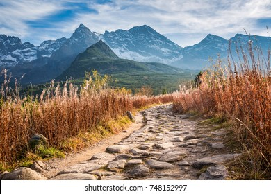 Beautiful path to the mountain valley in Tatras in Poland