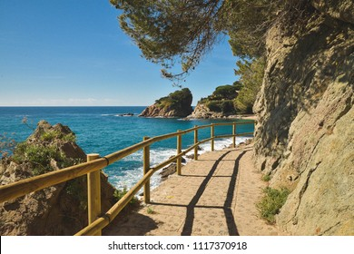 Beautiful path on Costa Brava in Catalonia, Spain on a sunny day