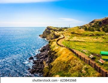 Beautiful Pathway of Songaksan Mountain in Jeju Island, South Korea