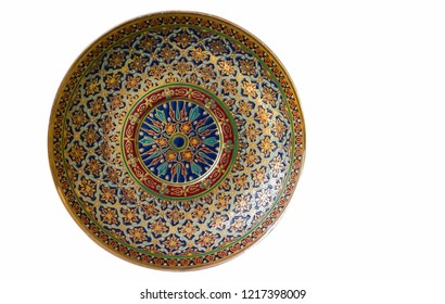 Beautiful pattern on the Benjarong bowl is a traditional art in Thailand in five colors on ceramics pottery isolated on white background.