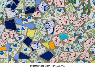 A beautiful pattern of a street wall made from broken tile, Vietri sul Mare, the Amalfi Coast, Italy.