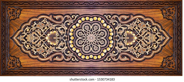 Beautiful patterns, wooden carved on the door.Oriental architectural decoration.