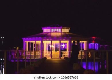 Beautiful pavilion at night