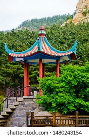 Beautiful pavilion with upturned eave roof in taiqing scenic area of laoshan national park Qingdao china