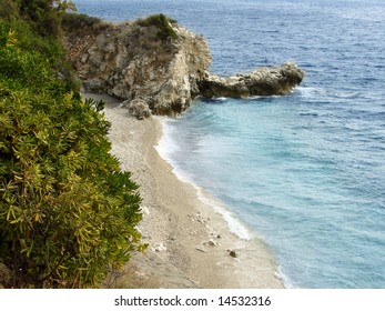 Beautiful peaceful beach on the Adriatic coast in Zupa Dubrovacka, Plat.