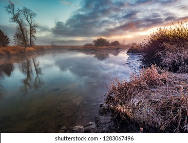 Beautiful peaceful river taken on a morning walk in Maple Ridge, BC, Canada