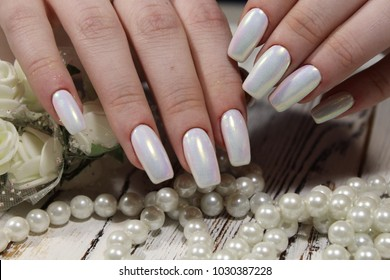 beautiful pearl manicure white nails texture background