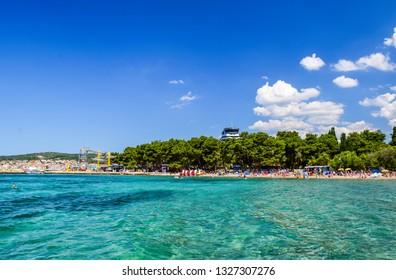 The beautiful pebble beach in Vodice, Croatia.