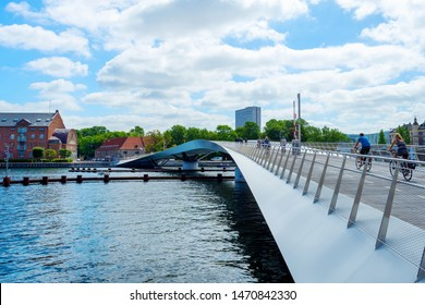 Beautiful pedestrian, bicycle bridge over the canal. Denmark. Copenhagen. Architecture Sights Travels