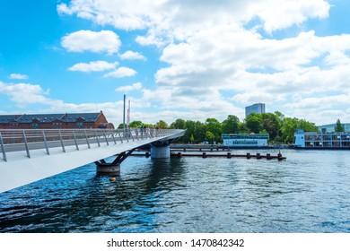 Beautiful pedestrian, bicycle bridge over the canal. Denmark. Copenhagen. Architecture Sights Travels