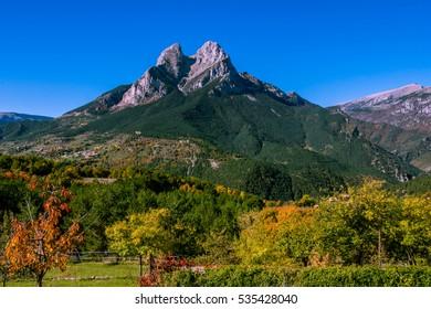 Beautiful Pedraforca Mountain in the autumn, Catalonia, Spain.