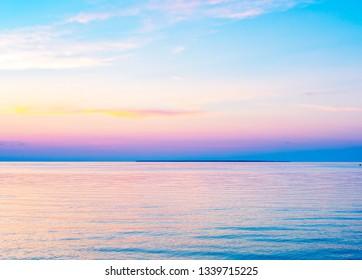 Beautiful peninsula seascape sunset on Eagle Harbor near Ephraim in Door County, Wisconsin