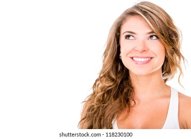 Beautiful pensive woman looking up - isolated over white