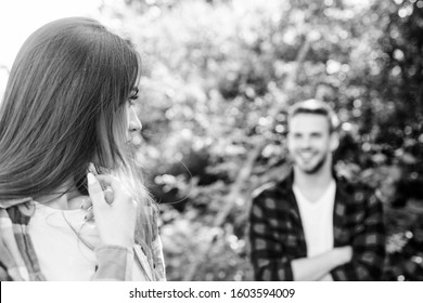 Beautiful people. Man hipster falling in love pretty girl. Casual meeting. Love from first sight. If woman knows you like her how will she react. Fall in love. Pure feelings. Romantic date concept.