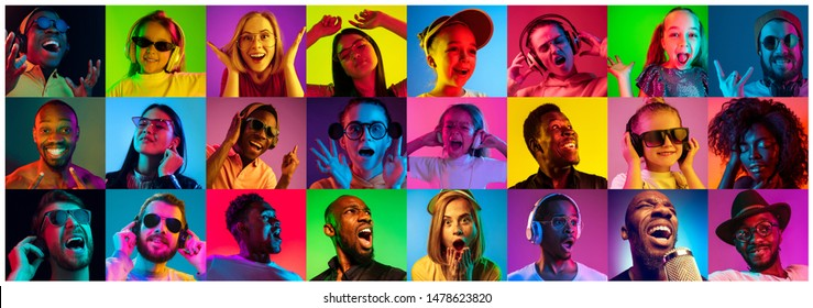 Beautiful people portrait isolated on bright neon light backgroud. Young, smiling, surprised, screaming. Human emotions, facial expression. Creative collage made of different photos of 12 models.