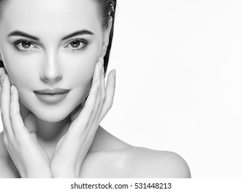 Beautiful people. Woman beauty face portrait isolated on white with healthy skin black and white