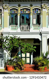 Beautiful Peranakan or Straits Chinese shop house in historic Joo Chiat in East Coast Singapore