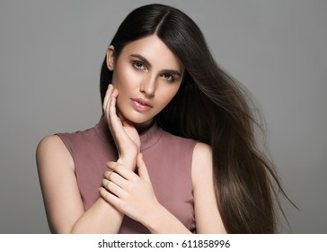 Beautiful perfect hair woman portrait.
