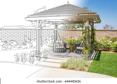 Beautiful Pergola Patio Cover Drawing Transitioning to Photo Reality.