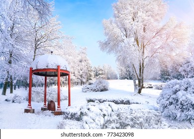Beautiful pergola in a winter park in sunny weather against a blue sky in the morning at dawn. Trees in the snow in nature,  a magical classic snowy winter.