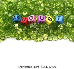 Beautiful peridot birthstone zodiac of august,gemstone,green background