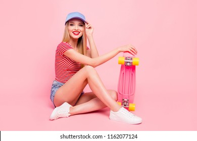 Beautiful person people concept. Full length size studio photo portrait of pretty attractive nice glad with toothy beaming smile lady sitting on floor isolated bright shine color background