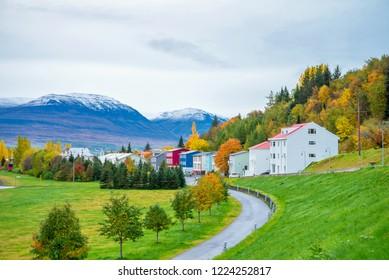 Beautiful Perspective view in Akureyri, Iceland