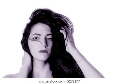 beautiful Peruvian woman On isolated Background