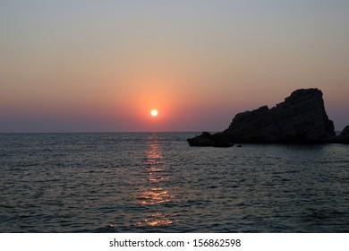 Beautiful Petanoi beach famous for it sunsets in the western side of Kefalonia island, Ionian Sea, Greece