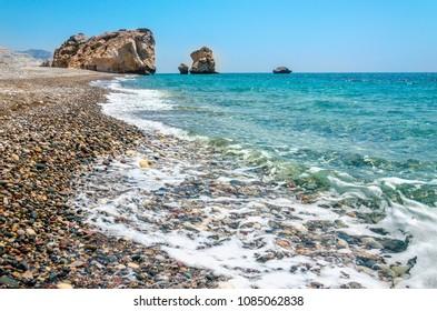 Beautiful Petra tou Romiou, also known as Aphrodite's Rock, Cyprus