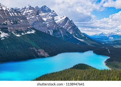 The beautiful Peyto lake with the surrounding mountains. Near Bow lake Canada. One of the most wonderful lakes of Canada.