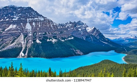 The beautiful Peyto lake with the surrounding mountains. Near Bow lake Canada. Perfectly blue water with green trees and mountains.
