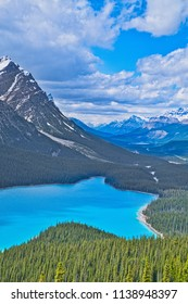 The beautiful Peyto lake with the surrounding mountains. Near Bow lake Canada. Just the head of the lake showing the resemblance of a wolf. (Peyto)