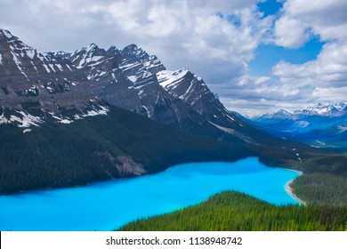 The beautiful Peyto lake with the surrounding mountains. Near Bow lake Canada. This (wolf)lake is just a peaceful scenery.