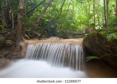 The beautiful  Phasawan waterfall in rain season located in deep rain forest jungle at Kanchanaburi , Thailand
