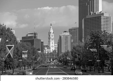 Beautiful Philadelphia skyline with blue sky