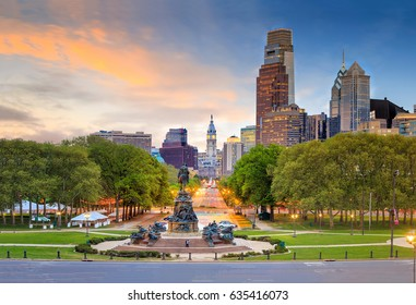 Beautiful philadelphia skyline at sunset in USA