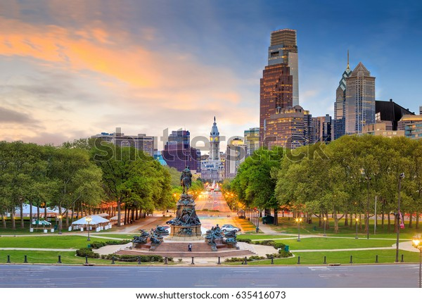 Beautiful philadelphia skyline at sunset in USA