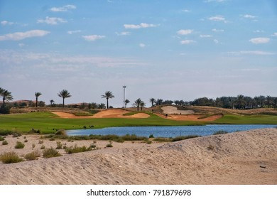 A beautiful phot of Golf Course near Saadiyat Public Beach at Saadiyat Island captured in bright sunny day.