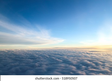 Beautiful photo from an airplane window. Sky and clouds