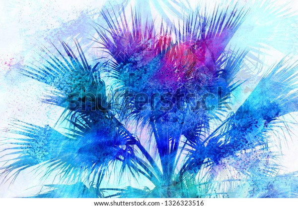Beautiful photo background watercolor retro palm trees in the tropics
